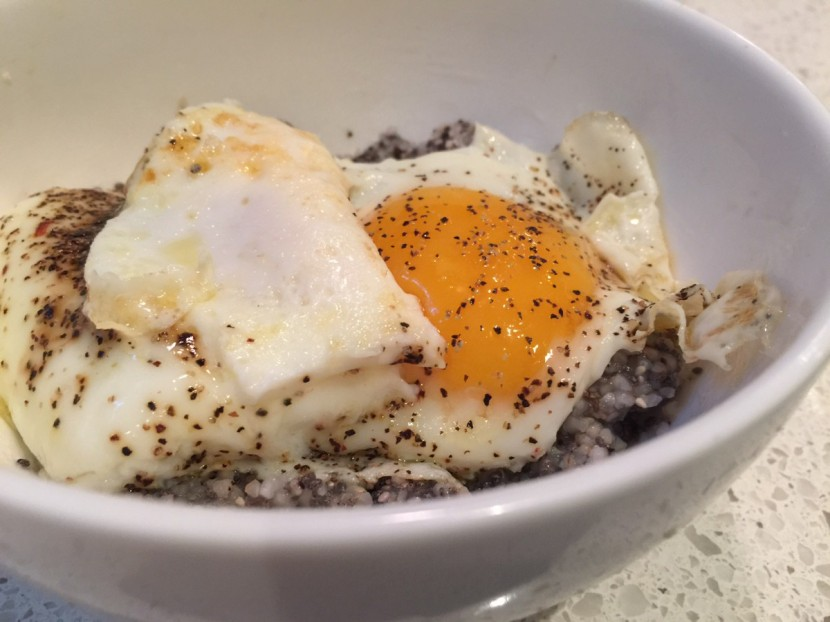 Perfectly Balanced Breakfast: Grits with Fried Eggs