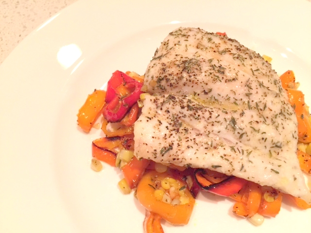 Roasted Fish with Corn & PepperSuccotash