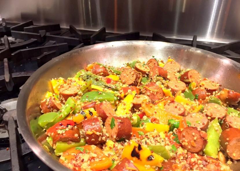 Spicy Sausage, Pepper, & QuinoaStirfry