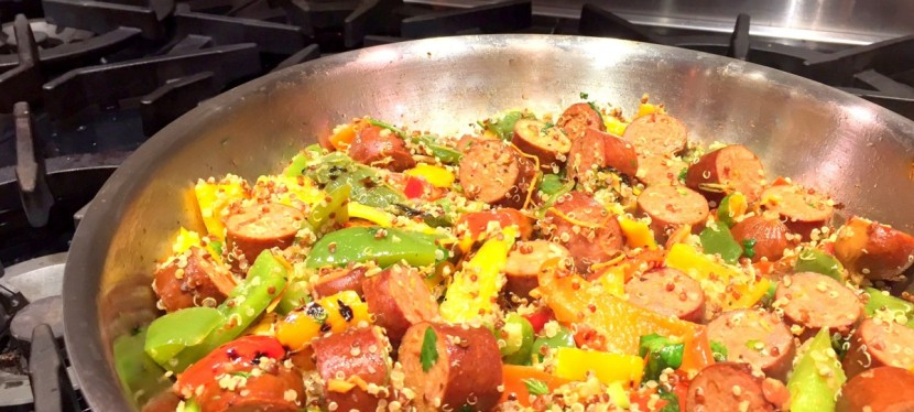 Spicy Sausage, Pepper, & Quinoa Stirfry
